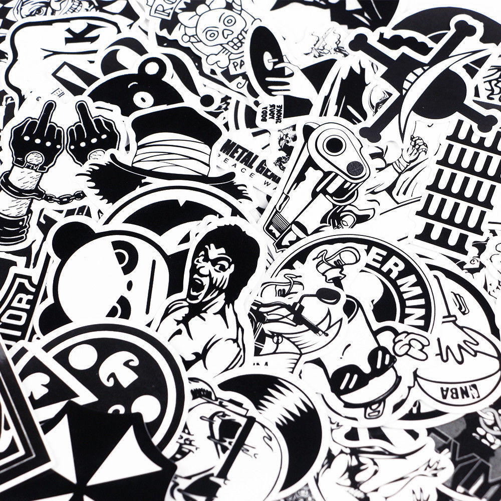 Details about 100 x black and white sticker bomb vinyl sticker bomb skateboard luggage uk