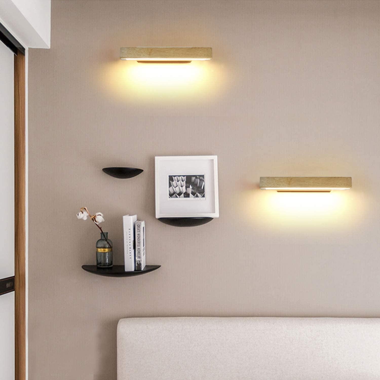 LED Wandleuchte Holz 350°Schwenkbar Wandlampe 4W//6W Flurlampe Bettlampe,21//31cm