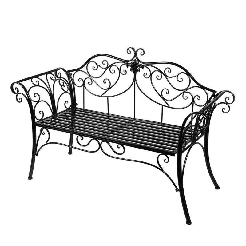 Metall Gartenbank Blumenbank Sitzbank Parkbank Gartenmöbel 2 Sitzer Garden  Bench