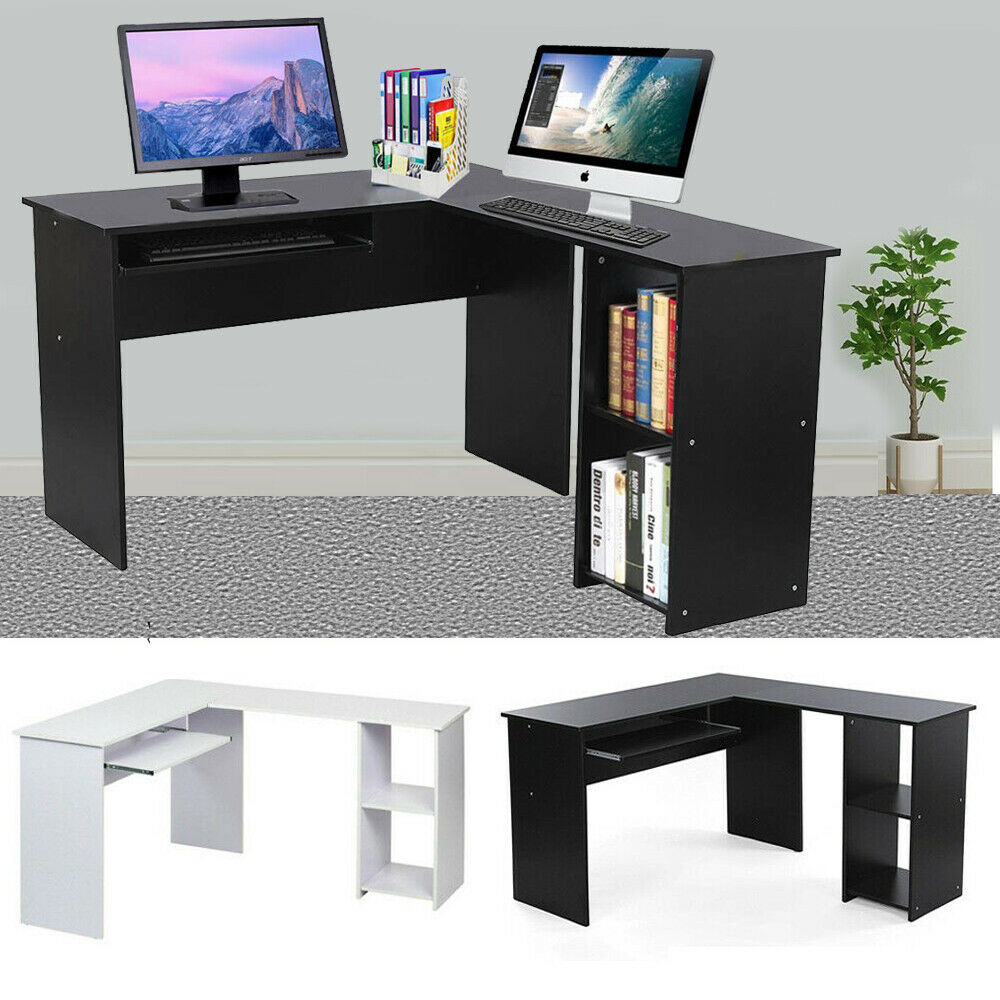 L Shaped Corner Computer Desk Pc Table Home Work Office Study Workstation