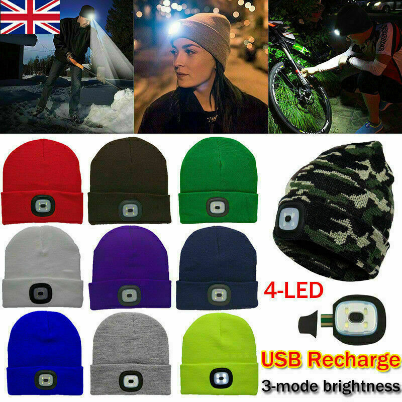 33231e676 Details about UK Mens Women Knitted Beanie Hat With LED Light Rechargeable  Warm Winter Outdoor