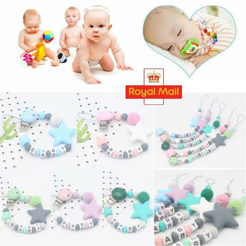 Kids Baby Boys Girls Dummy Pacifier Soother UK Strap Chain Clip Holder Strap JI