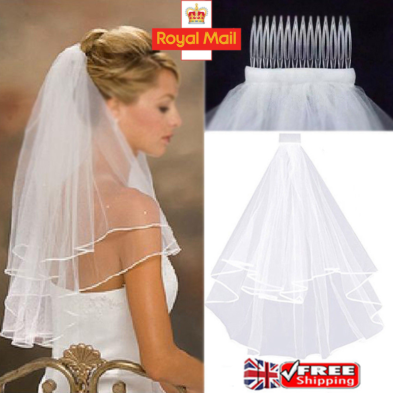 Women Beauty Veil Comb Ivory White Bride to Be Hen Night Wedding Party UK