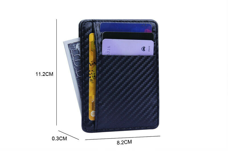 Ultra Thin Mens Wallet Credit Card Holder Money ID Case PU Leather Purse Slim