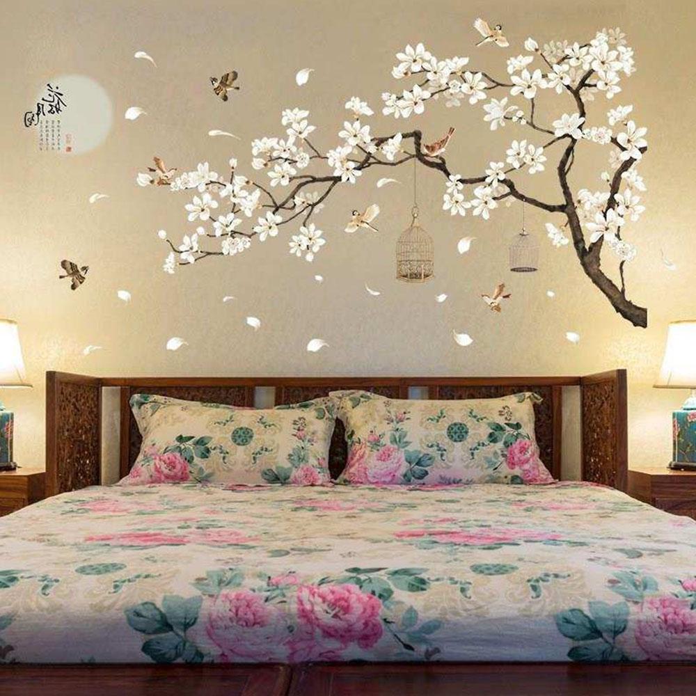 Cherry Blossom Decals Mural Decor White Blossom Tree Branch Wall Art Stickers   eBay