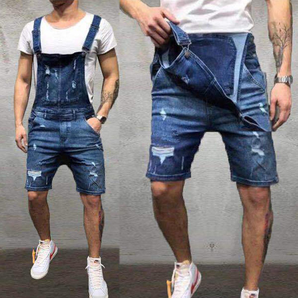 Correa-De-Hombre-Denim-Jeans-Mono-Mono-corto-Dungaree-Pantalones-Cortos-Deshilachados-Babero-En miniatura 13
