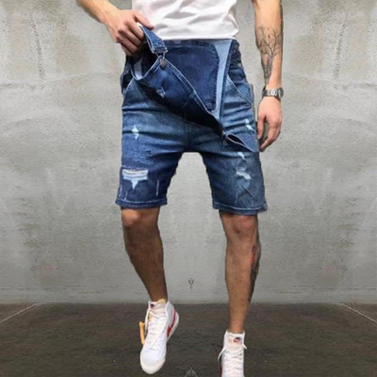 Correa-De-Hombre-Denim-Jeans-Mono-Mono-corto-Dungaree-Pantalones-Cortos-Deshilachados-Babero-En miniatura 14