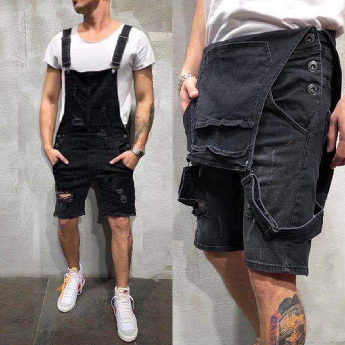 Correa-De-Hombre-Denim-Jeans-Mono-Mono-corto-Dungaree-Pantalones-Cortos-Deshilachados-Babero-En miniatura 17