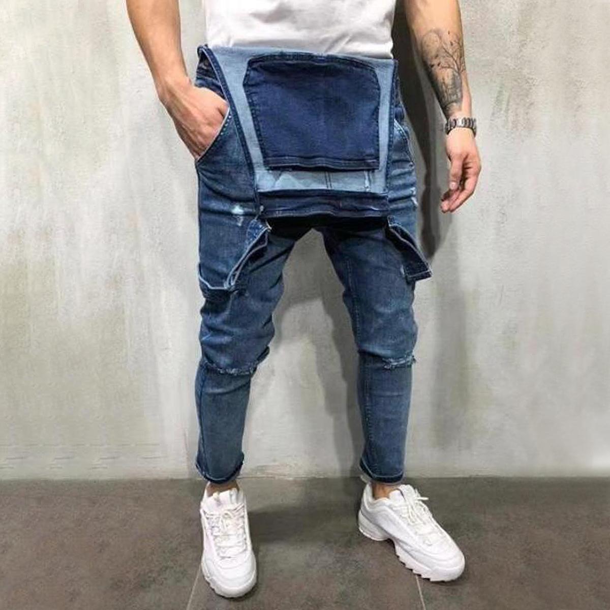 Correa-De-Hombre-Denim-Jeans-Mono-Mono-corto-Dungaree-Pantalones-Cortos-Deshilachados-Babero-En miniatura 21