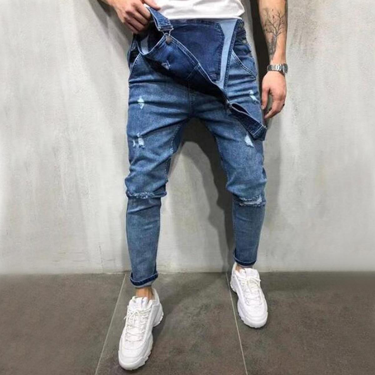 Correa-De-Hombre-Denim-Jeans-Mono-Mono-corto-Dungaree-Pantalones-Cortos-Deshilachados-Babero-En miniatura 22
