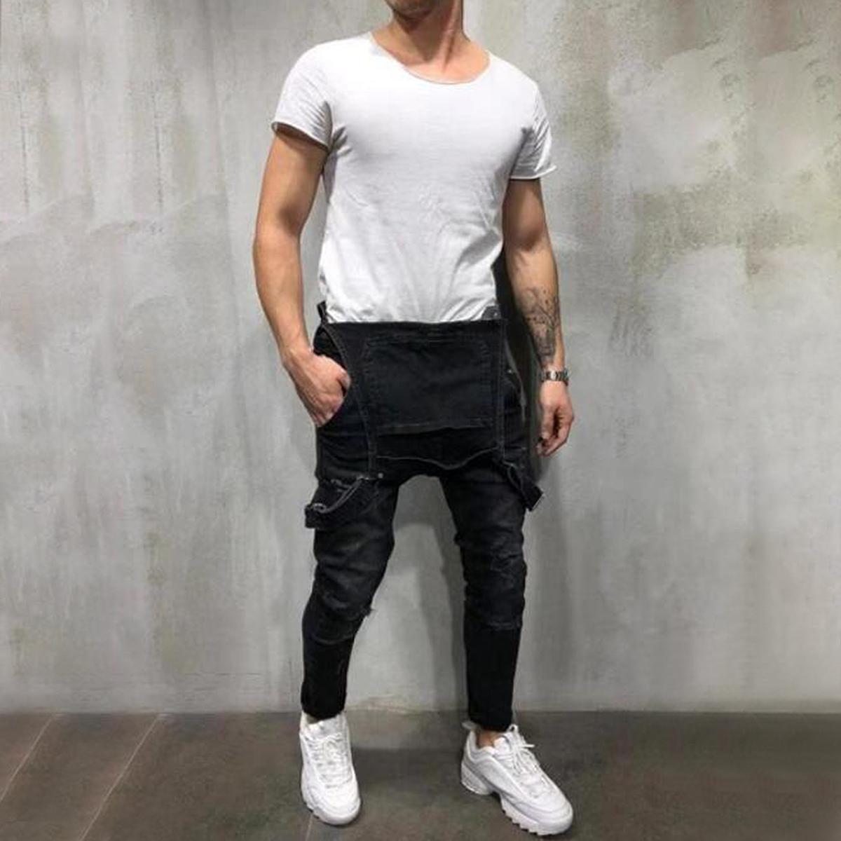 Correa-De-Hombre-Denim-Jeans-Mono-Mono-corto-Dungaree-Pantalones-Cortos-Deshilachados-Babero-En miniatura 26
