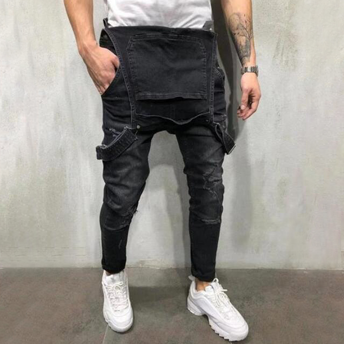 Correa-De-Hombre-Denim-Jeans-Mono-Mono-corto-Dungaree-Pantalones-Cortos-Deshilachados-Babero-En miniatura 27