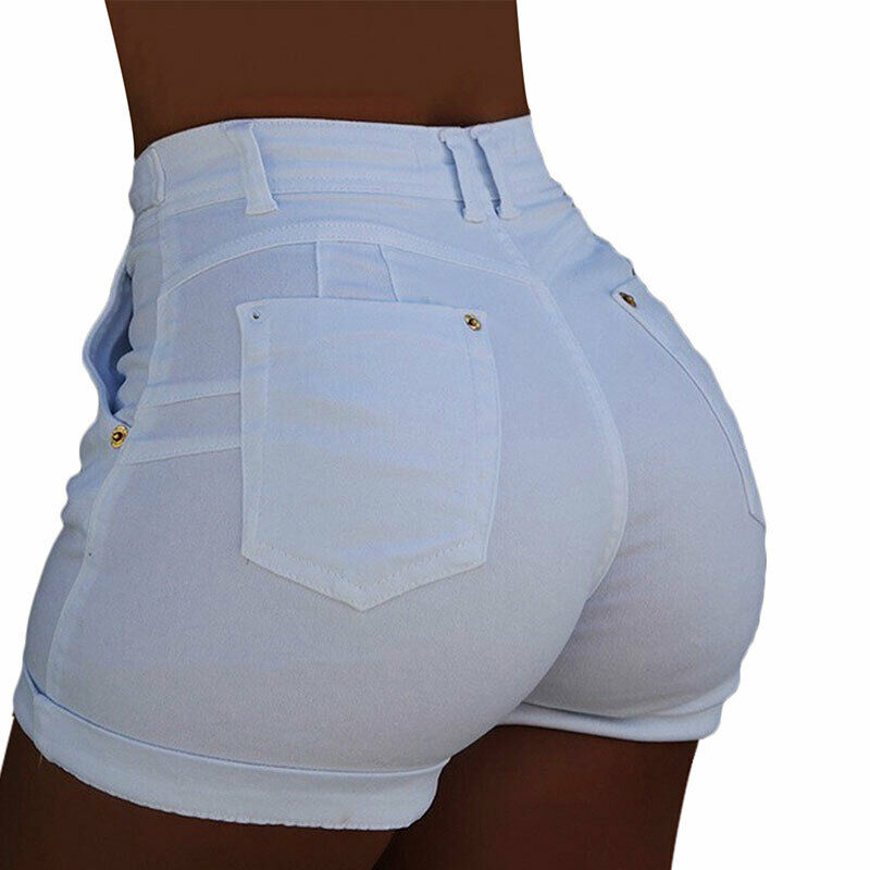 Women Plus Size Elastic High Waist Shorts Ladies Denim Beach Casual Short Pant