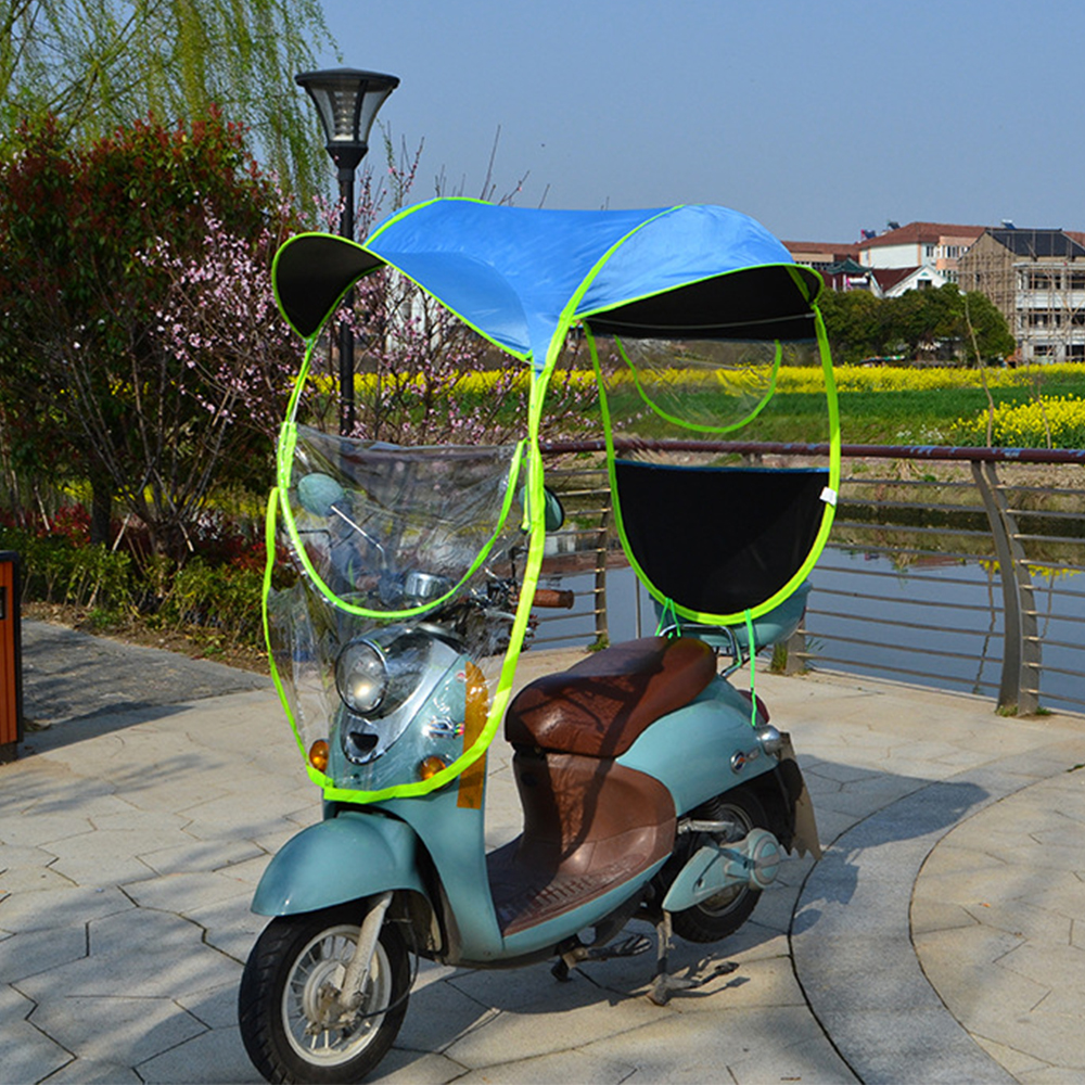 280*80cm Universal Car Motor Scooter Umbrella Mobility Sun Shade Rain Cover Waterproof Blue