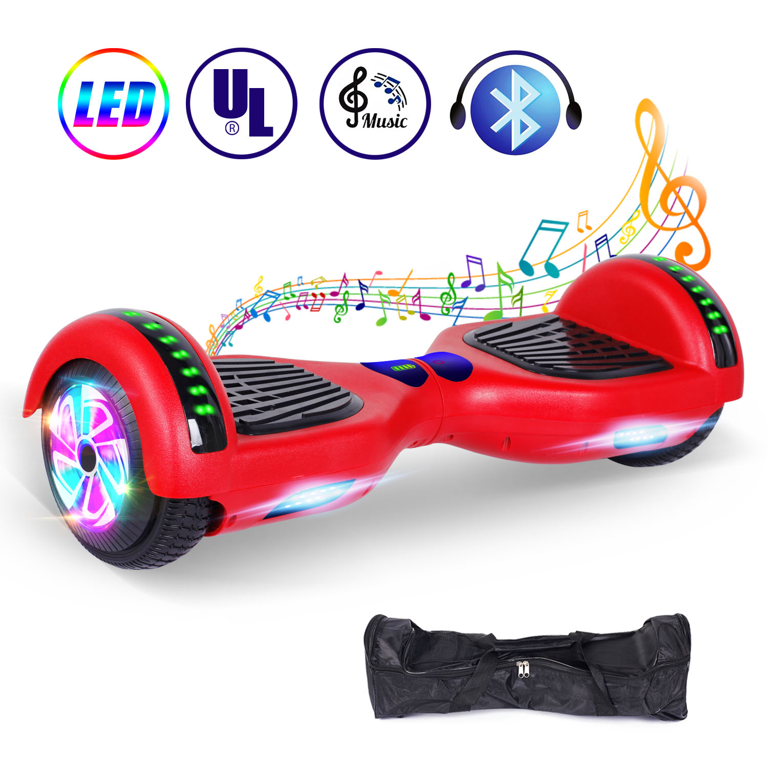 """Hi-Q Red Silikon Cover Schutzhülle For 6.5/"""" Hoverboard Balance Scooter 2 Wheels"""