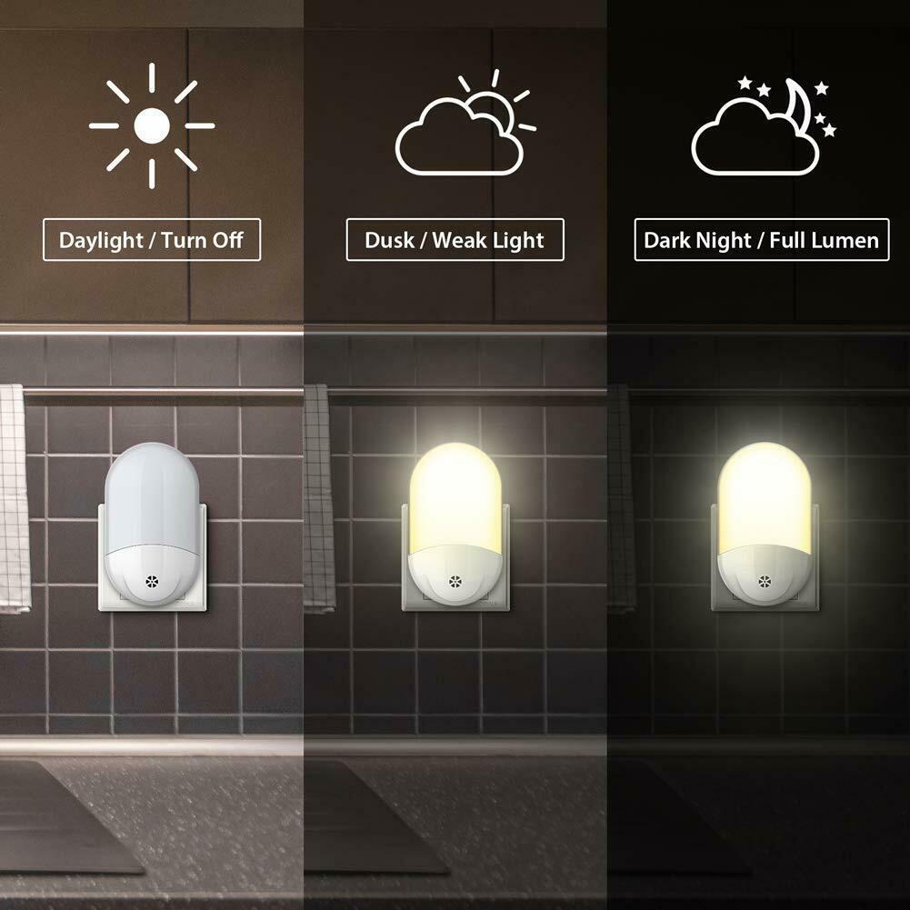 2X LED Nachtlicht Notlicht Steckdose Kinder Steckdosenlampe Nachtlampe Warmweiß