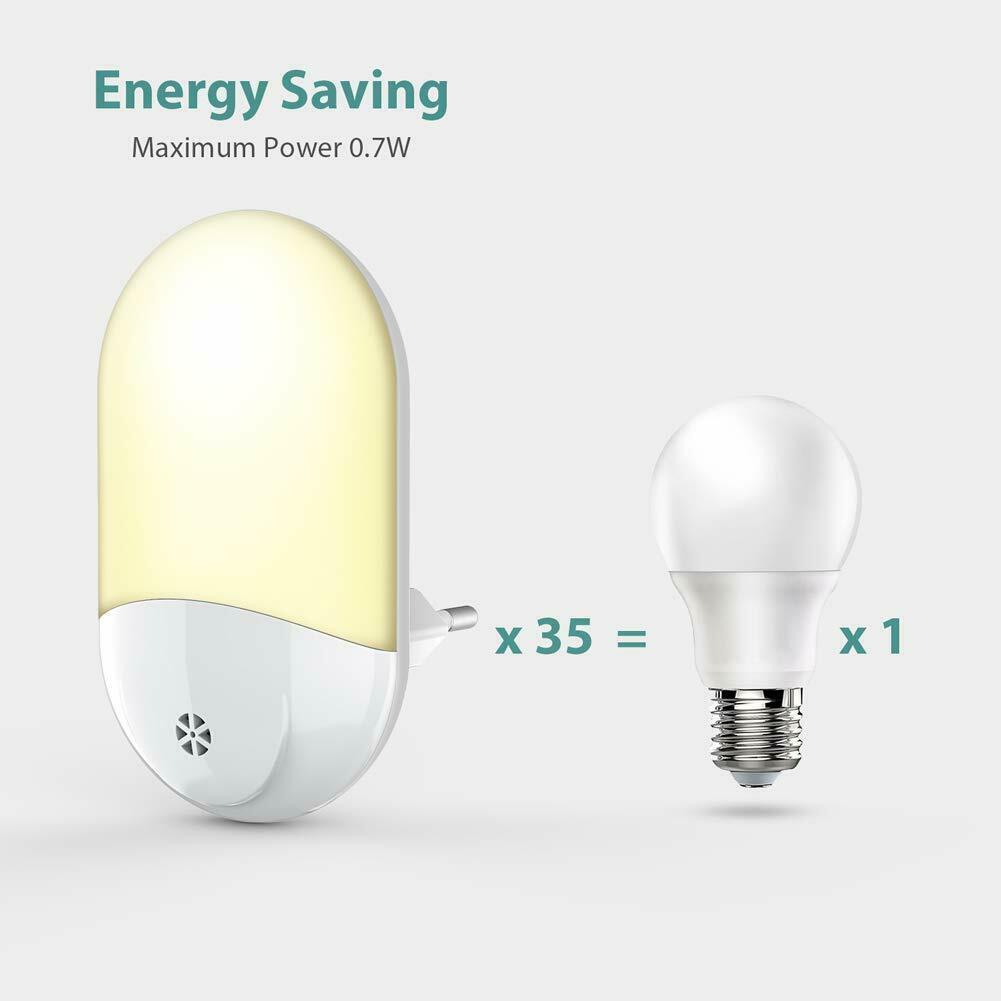 1//2x LED Steckdosen Nachtlicht Nachtlampe Dämmerungs Sensor 2835SMD