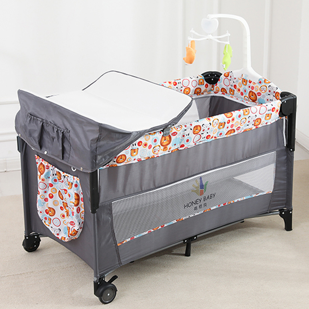 Folding Portable Baby Travel Cot Crib Bassinet Bed Playpen Infants with Mattress