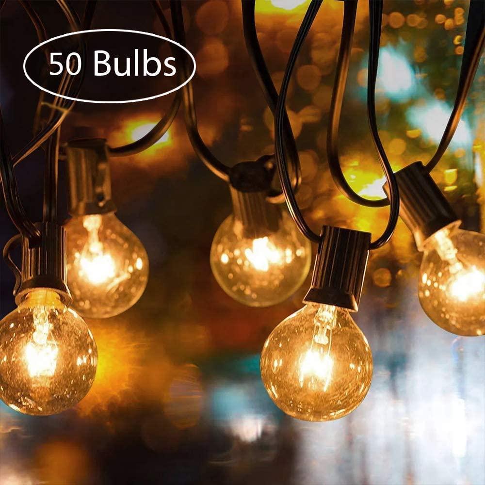 Weihnachten Party Hochzeit PDGROW Lichterkette Innen//Au/ßen G40 RGB Lichterketten 18FT Wasserdichte Lichterkette Beleuchtung 10 Birnen mit 2 Ersatzbirnen Dekoration f/ür Garten