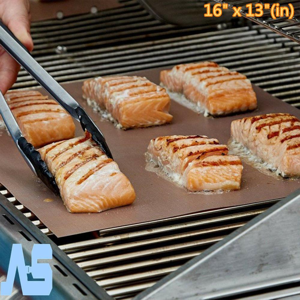 2x Chef Grill Bake Mats Nonstick Kitchen Copper Barbecue