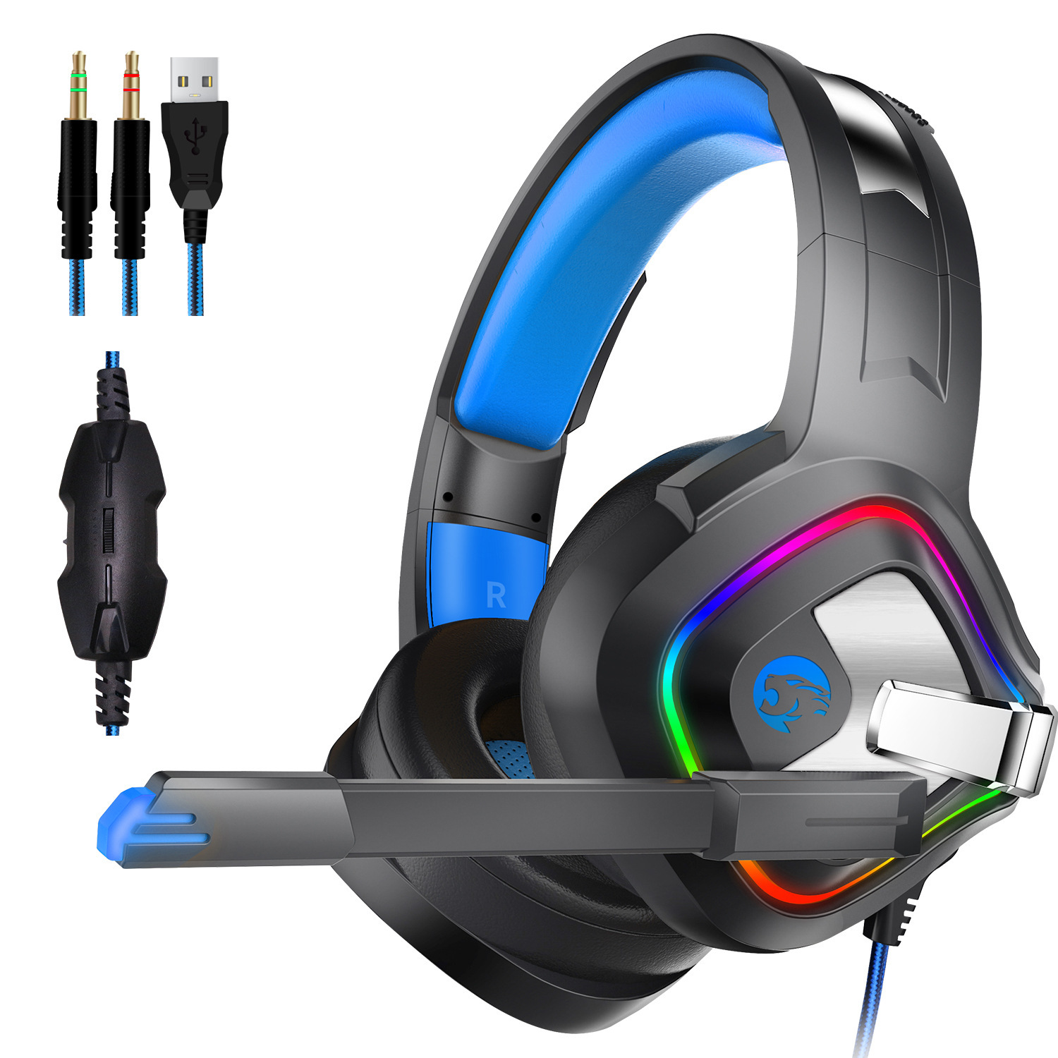 gaming kopfh rer stereo pc headset mit mikrofon rgb led. Black Bedroom Furniture Sets. Home Design Ideas