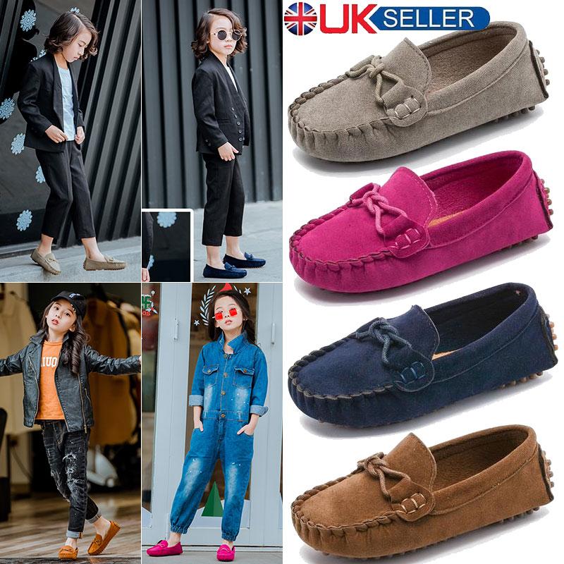 Shoes Girls Casual Slip On Loafers Uk Flat Boat Kids Leather Moccasins Boys Size BWderQCxoE