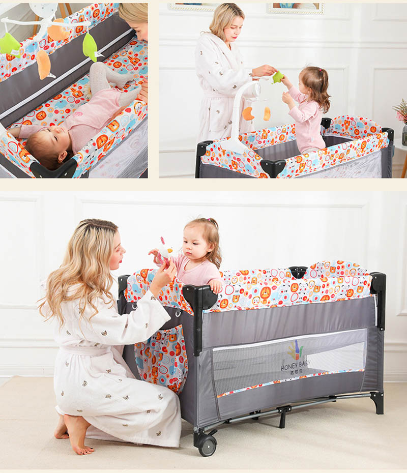 Side Sleeping Bedside Crib Baby Cot bed with Washable Mattress & Wheels Playpen