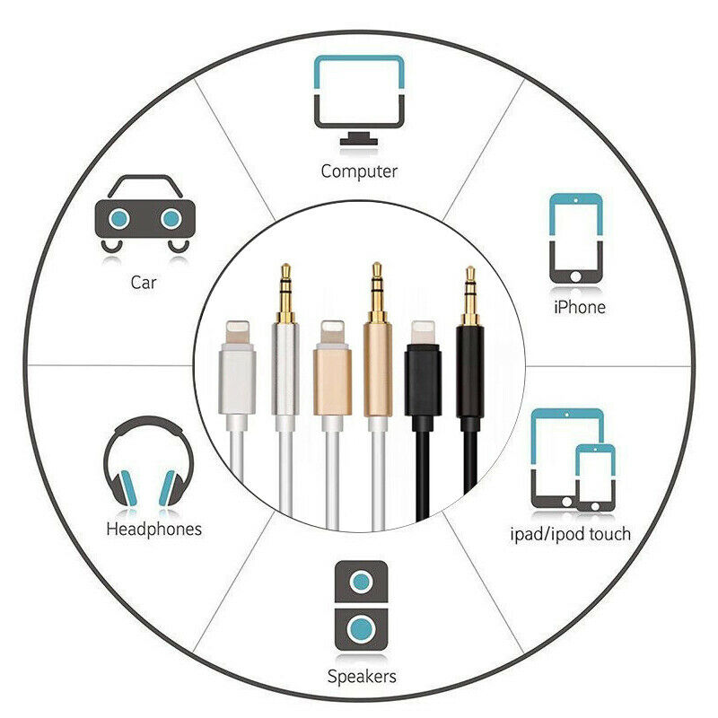 Lightning To 3 5mm Male: Lightning To 3.5mm Jack Male To Male Audio AUX Lead Cable