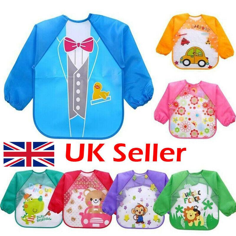 UK Feeding Art Apron Bib Smock Boy Girl Baby Toddler Kids Long Sleeve Waterproof
