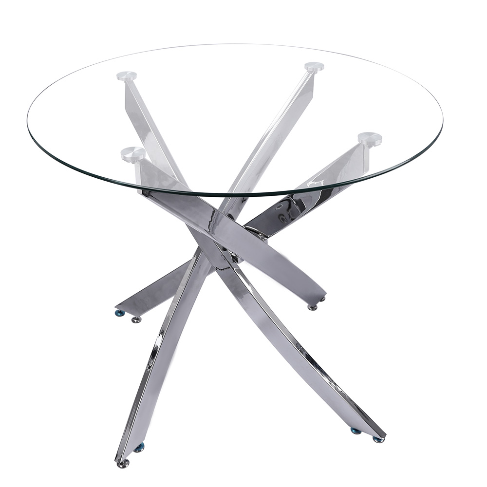 thumbnail 16 - Round Dining Table with 4 Faux Leather Chairs High Back Padded Seat Kitchen Cafe