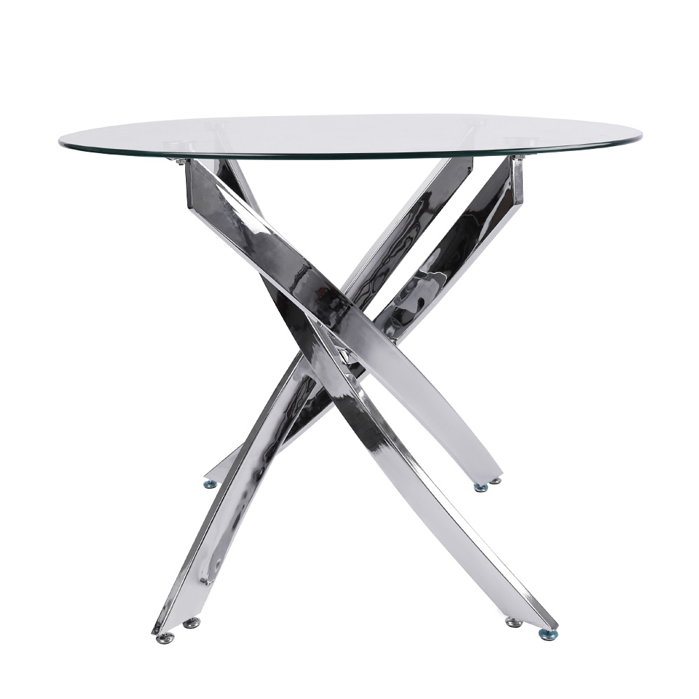 thumbnail 17 - Round Dining Table with 4 Faux Leather Chairs High Back Padded Seat Kitchen Cafe