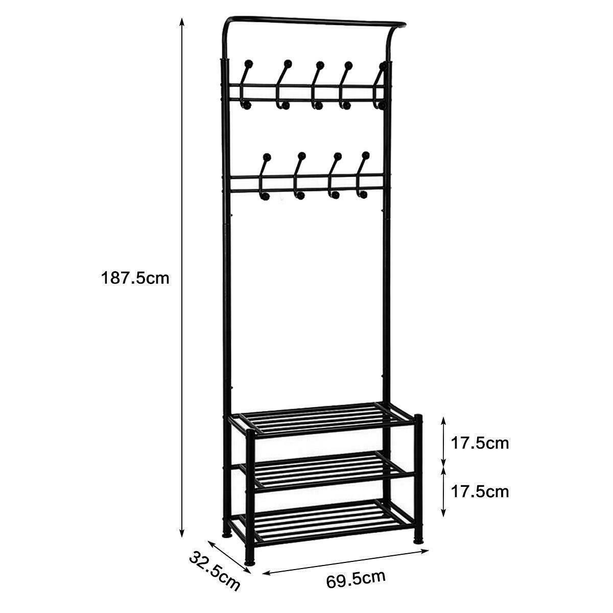 Picture of: Wooden Hat Coat Rack Stand Metal Shoe Bench Hallway Tall Tree 9 Hooks Storage Ebay
