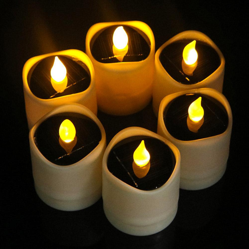 Senza-Fiamma-LED-Candela-Energia-Solare-Alimentato-Tremolante-Te-Luci-a-Batterie miniatura 14