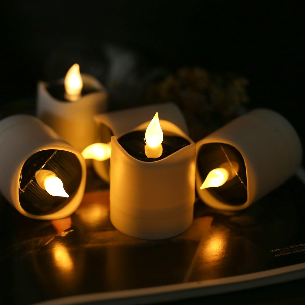 Senza-Fiamma-LED-Candela-Energia-Solare-Alimentato-Tremolante-Te-Luci-a-Batterie miniatura 17
