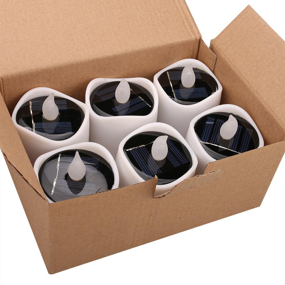 Senza-Fiamma-LED-Candela-Energia-Solare-Alimentato-Tremolante-Te-Luci-a-Batterie miniatura 19