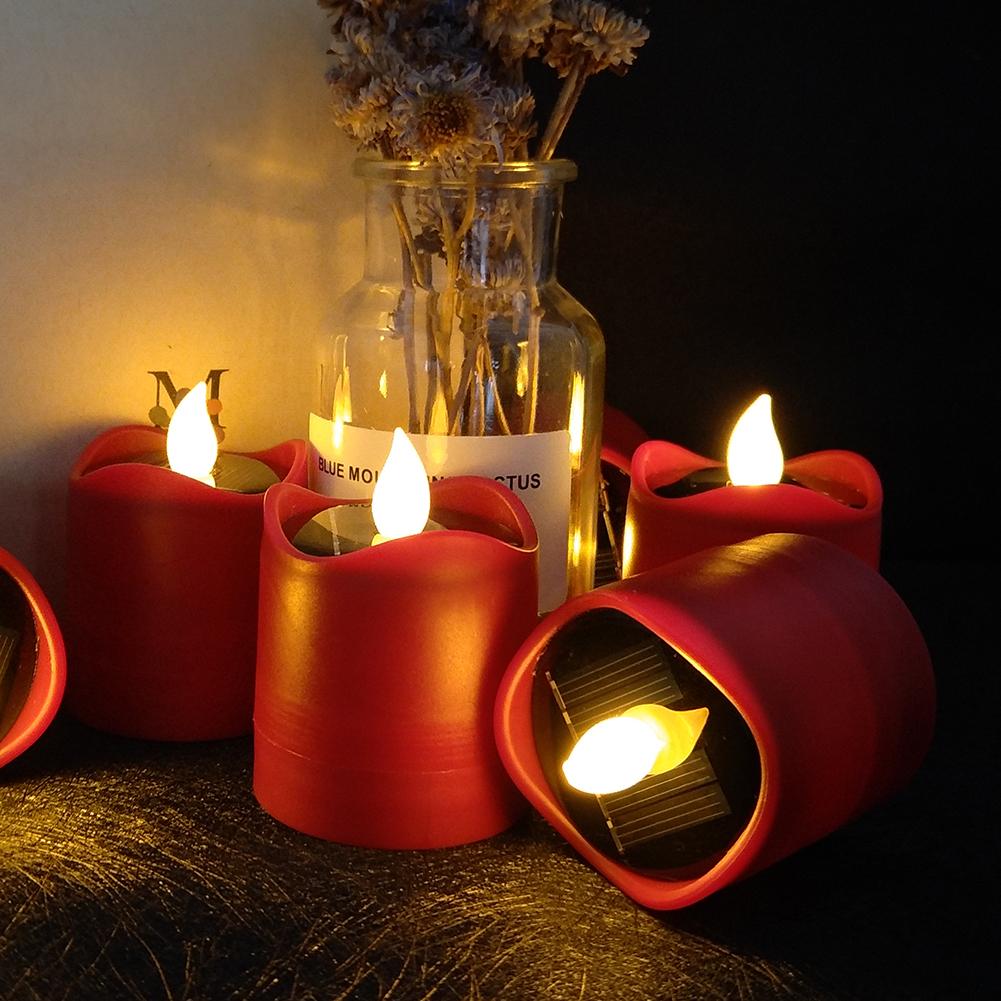 Senza-Fiamma-LED-Candela-Energia-Solare-Alimentato-Tremolante-Te-Luci-a-Batterie miniatura 26
