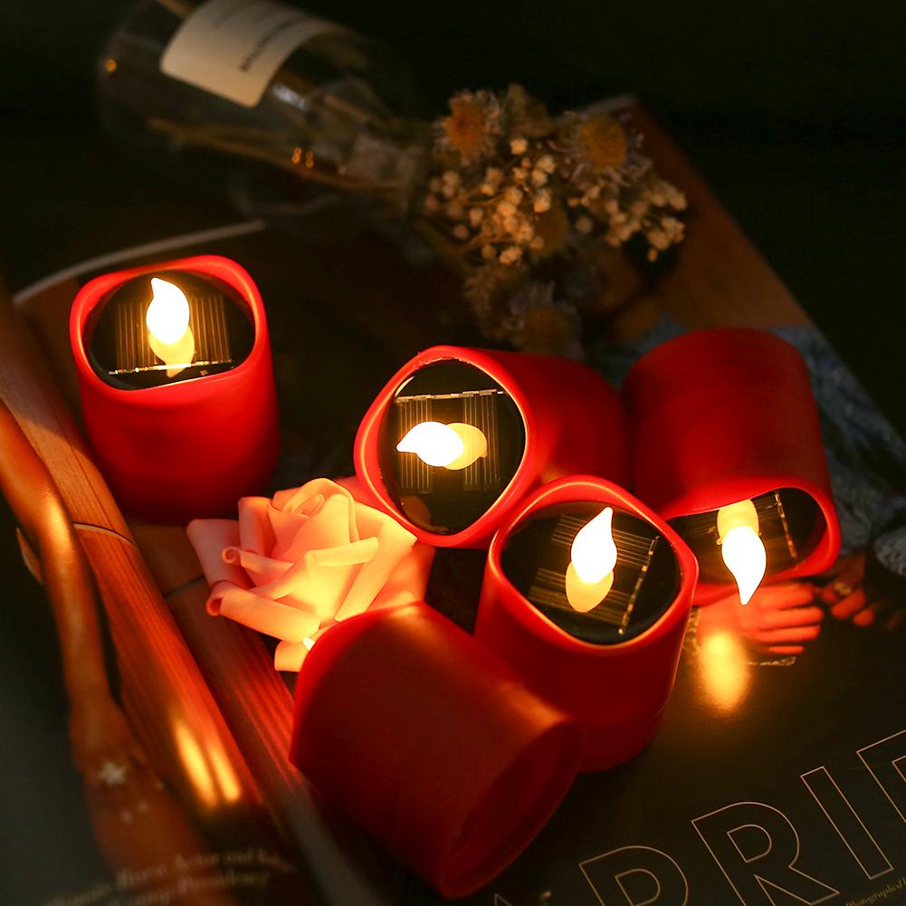Senza-Fiamma-LED-Candela-Energia-Solare-Alimentato-Tremolante-Te-Luci-a-Batterie miniatura 28