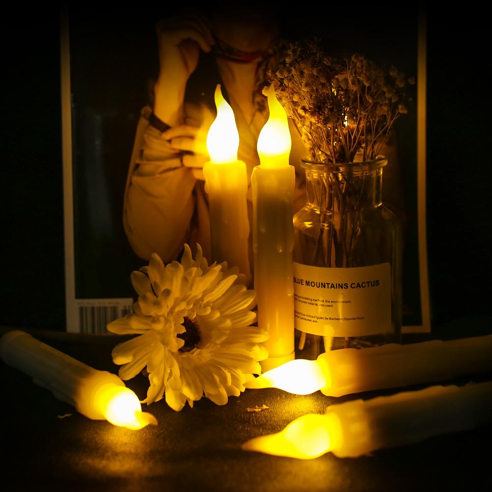 12PCS-LED-senza-fiamma-stile-Aviator-lo-sfarfallio-a-Batteria-Candele-Luci-Festa-Decor miniatura 2