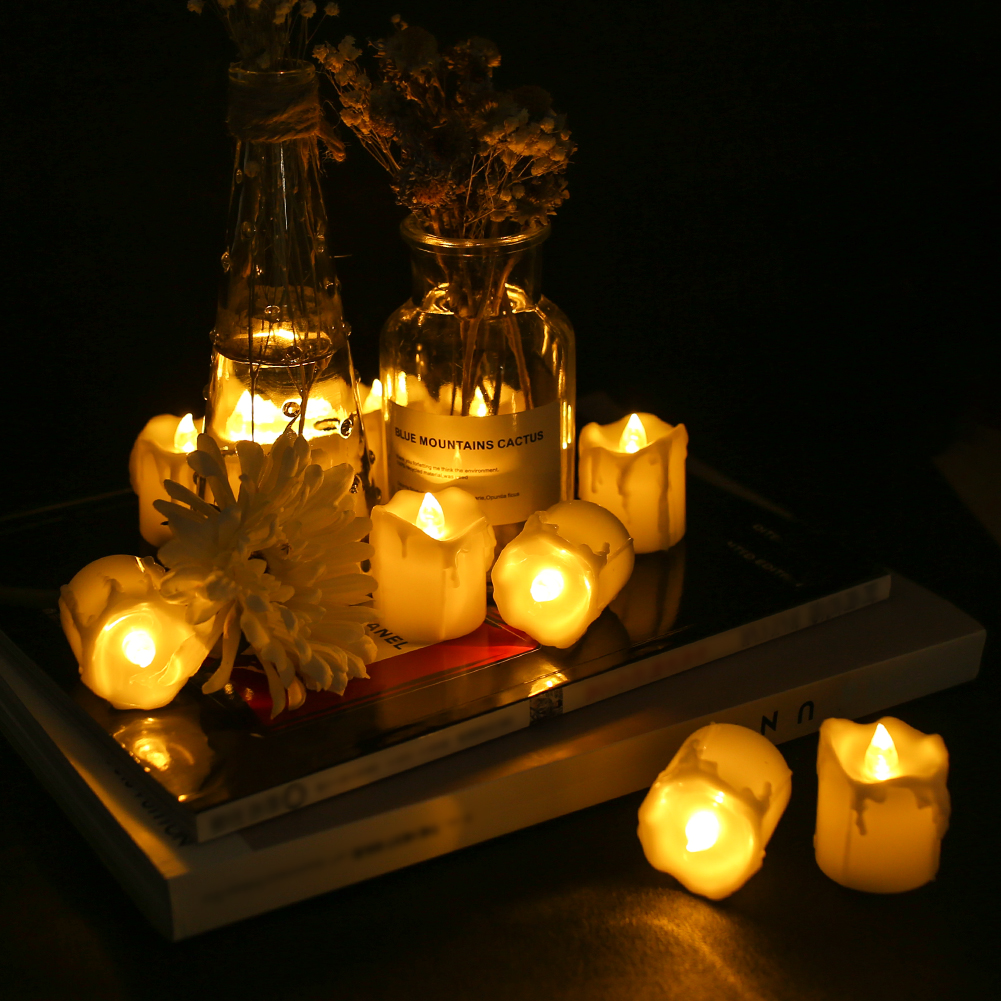 12Pcs-LED-Realistico-Finta-Senza-Fiamma-Candele-Tremolante-TEA-LIGHT-Home-Decor miniatura 15