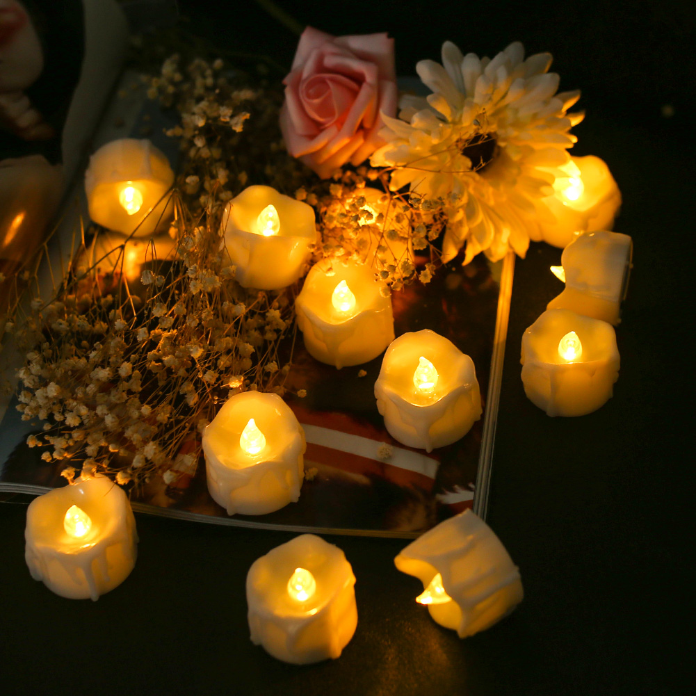 12Pcs-LED-Realistico-Finta-Senza-Fiamma-Candele-Tremolante-TEA-LIGHT-Home-Decor miniatura 26
