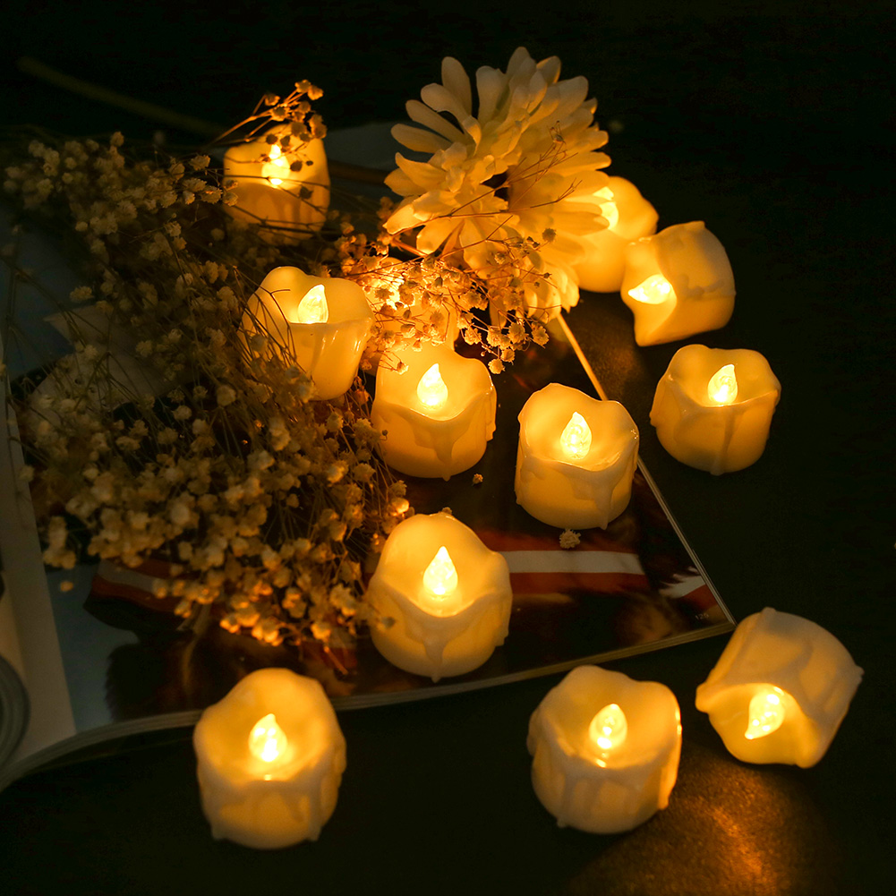 12Pcs-LED-Realistico-Finta-Senza-Fiamma-Candele-Tremolante-TEA-LIGHT-Home-Decor miniatura 35