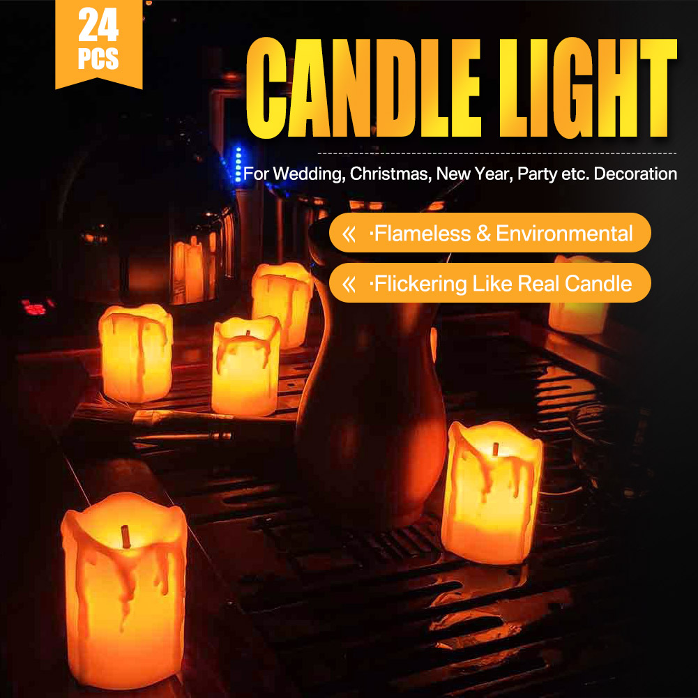 24-PEZZI-CANDELE-LUMINI-LED-senza-fiamma-CANDELINE-Lume-di-candela-Tremolante miniatura 14
