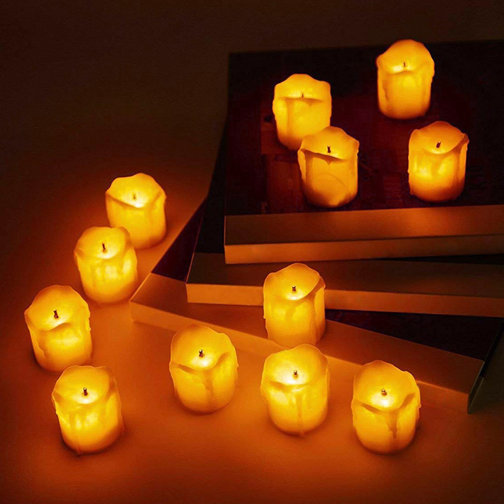 24-PEZZI-CANDELE-LUMINI-LED-senza-fiamma-CANDELINE-Lume-di-candela-Tremolante miniatura 17