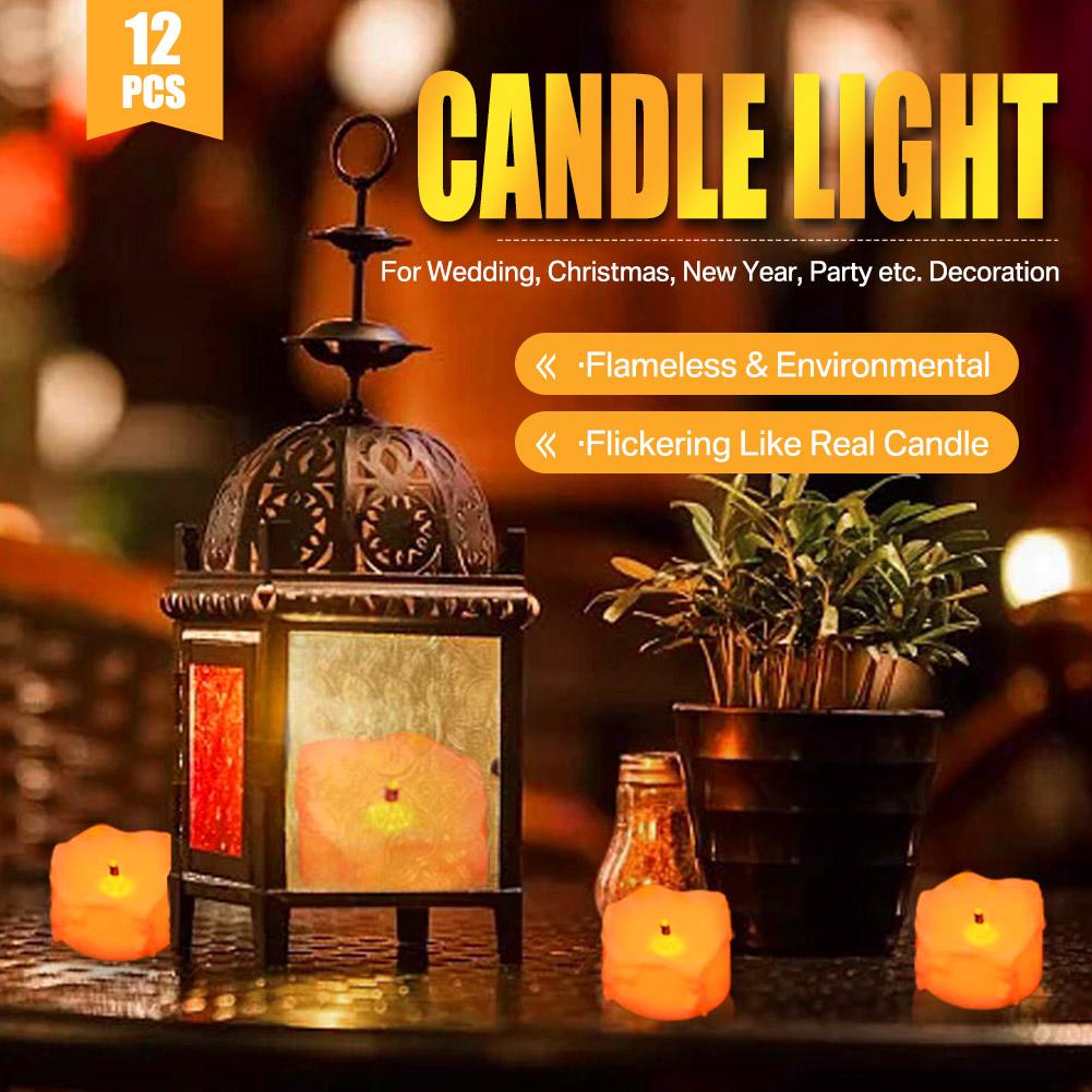24-PEZZI-CANDELE-LUMINI-LED-senza-fiamma-CANDELINE-Lume-di-candela-Tremolante miniatura 24