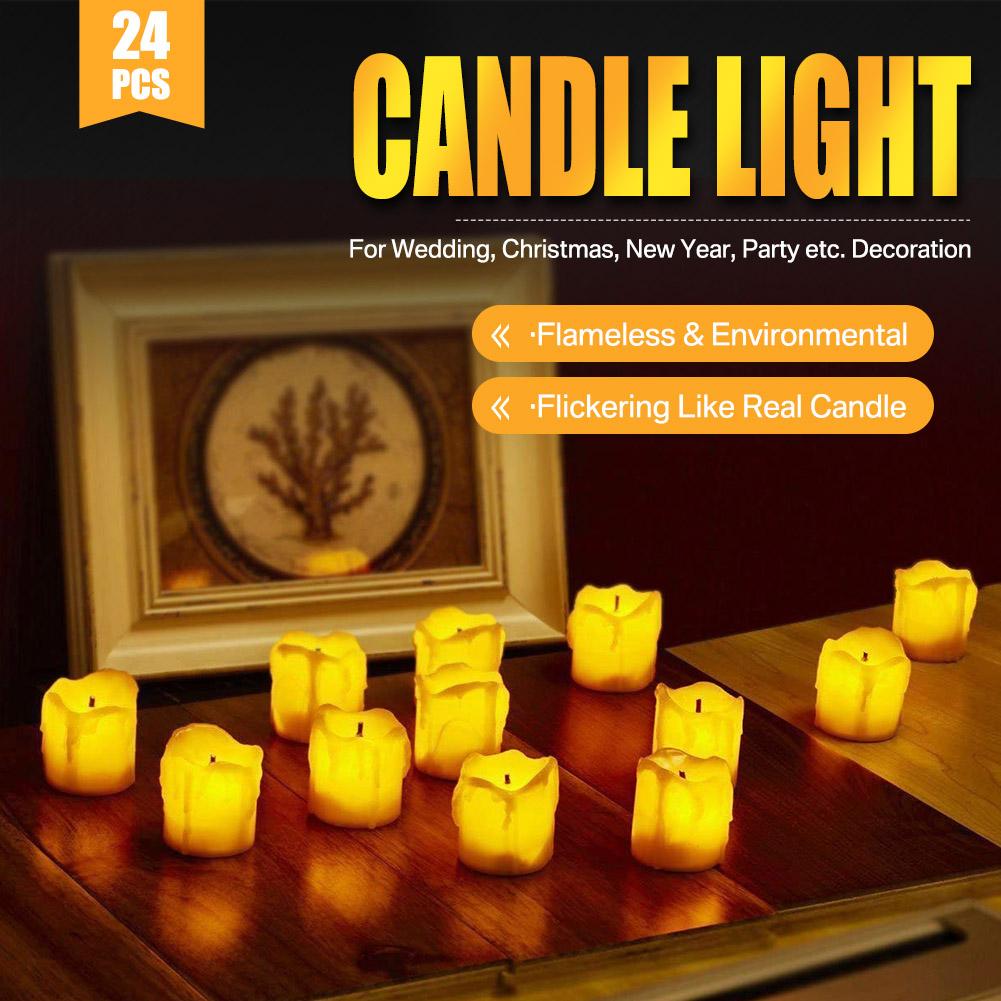 24-PEZZI-CANDELE-LUMINI-LED-senza-fiamma-CANDELINE-Lume-di-candela-Tremolante miniatura 33