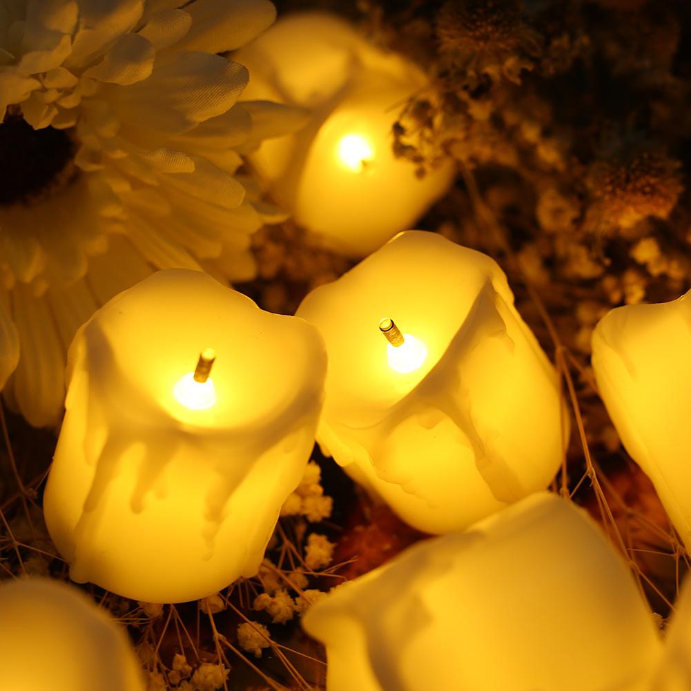 24-PEZZI-CANDELE-LUMINI-LED-senza-fiamma-CANDELINE-Lume-di-candela-Tremolante miniatura 35