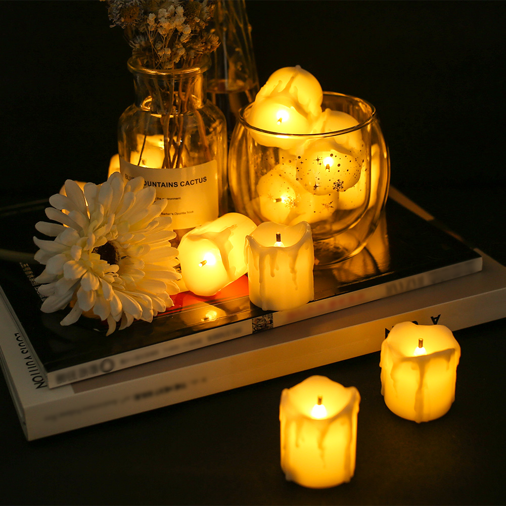24-PEZZI-CANDELE-LUMINI-LED-senza-fiamma-CANDELINE-Lume-di-candela-Tremolante miniatura 39
