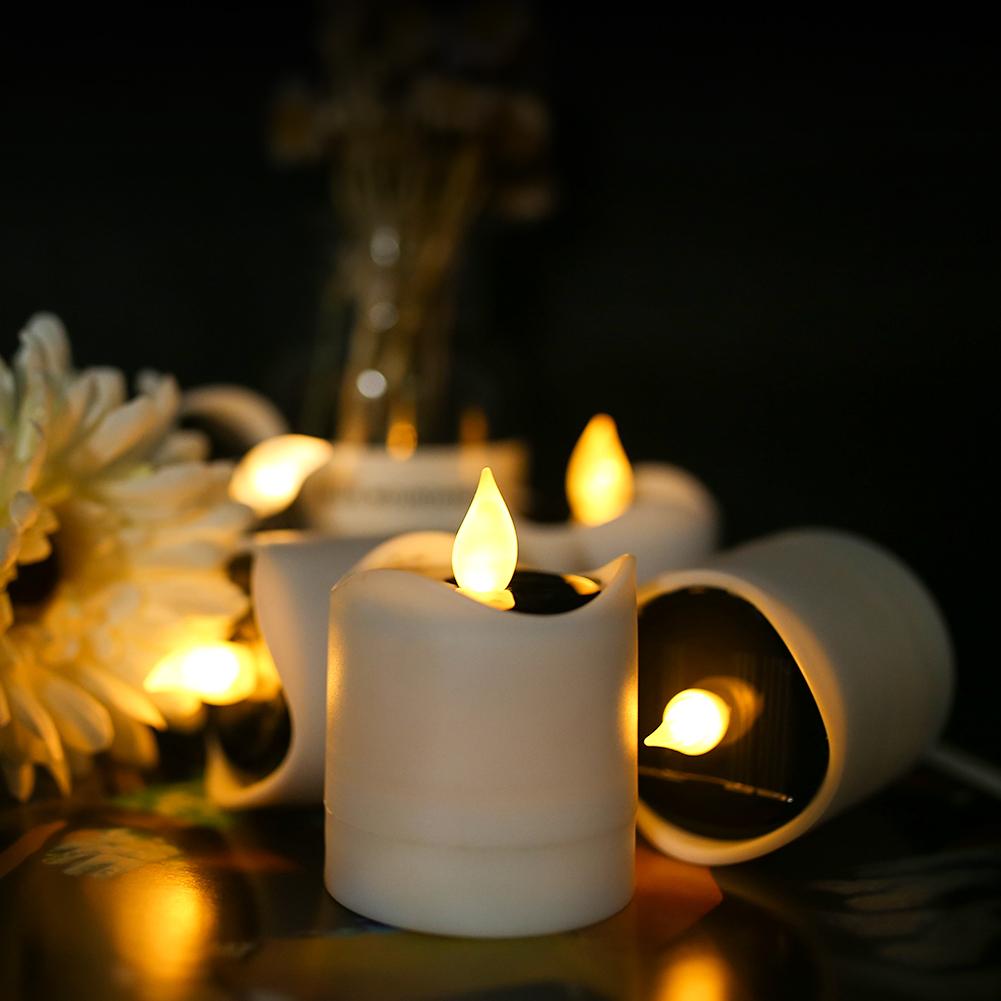 12x-LED-luce-del-te-Candele-sfarfallio-energia-solare-senza-fiamma-Lumini-Wedding-Decor miniatura 14