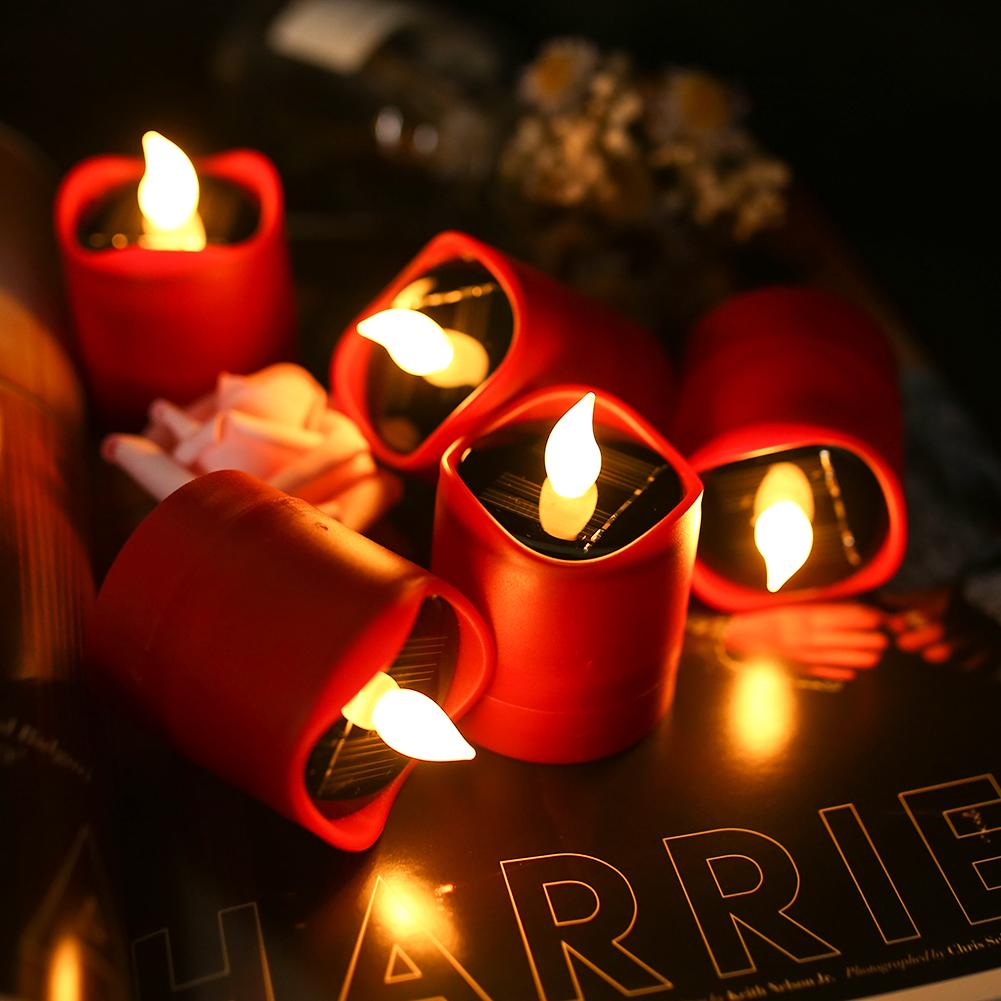 12x-LED-luce-del-te-Candele-sfarfallio-energia-solare-senza-fiamma-Lumini-Wedding-Decor miniatura 26