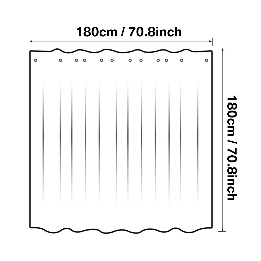 3D-Tenda-Da-Doccia-Bagno-Con-12-Ganci-Chiaro-Impermeabile-180cmx180cm-180x200cm miniatura 14